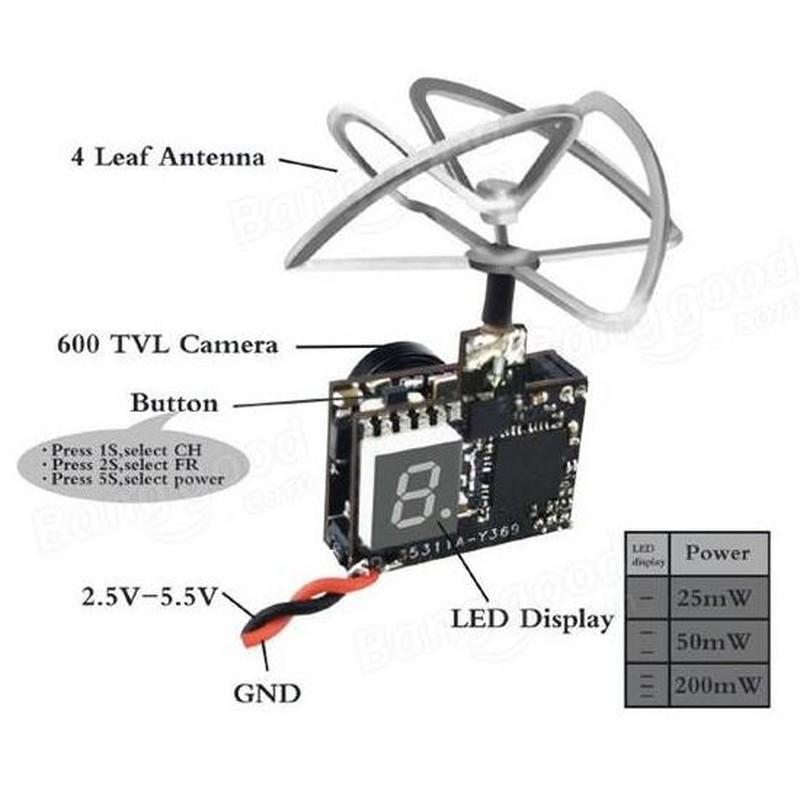 Micro Transmissor e câmera FPV TX03 Eachine de FPV Eachine 72 Canais 25mW / 50mW / 200mW  - iFly Electric Hobby