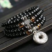 Japamala Budista Pedra Obsidiana  e Olho de Tigre  108 contas 6mm