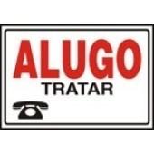 PLACA SINALIZAÇÃO ALUGO TRATAR 30X20 - 0,80mm