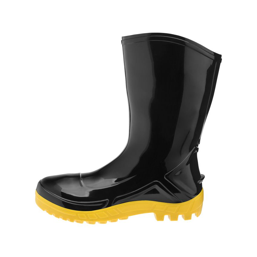 Bota PVC Cano Curto Preta Solado Amarelo Vulcaflex