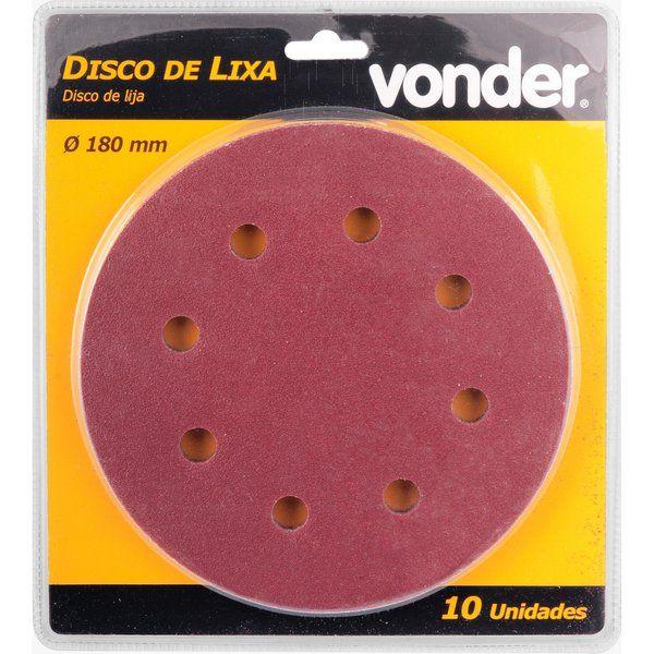 DISCO DE LIXA 180MM GRÃO 120 P/ LIXADEIRA LPV750 VONDER 10 UNI.