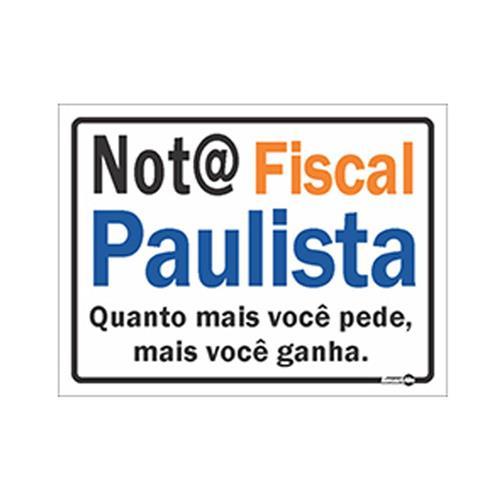 PLACA DE SINALIZAÇÃO NOTA FISCAL PAULISTA 20X15 - 0,80mm