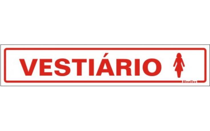 PLACA DE SINALIZAÇÃO VESTIÁRIO FEMININO 30x6,5 - 0,80mm