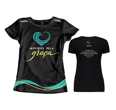 Camisa Movidos Pela Graça - Preta - Tamanho Único Feminino