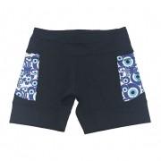 Shorts de compressão 1500 bolsos em sportiva preto com bolsos laterais estampa olho grego new