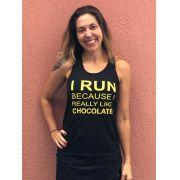 Regata running chocolate preta e amarelo