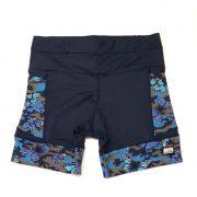 Shorts de compressão 1500 bolsos em compress azul marinho com bolsos laterais estampado borboleta