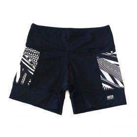 Shorts de compressão 2 bolsos Square em sportiva preto bolso estampado
