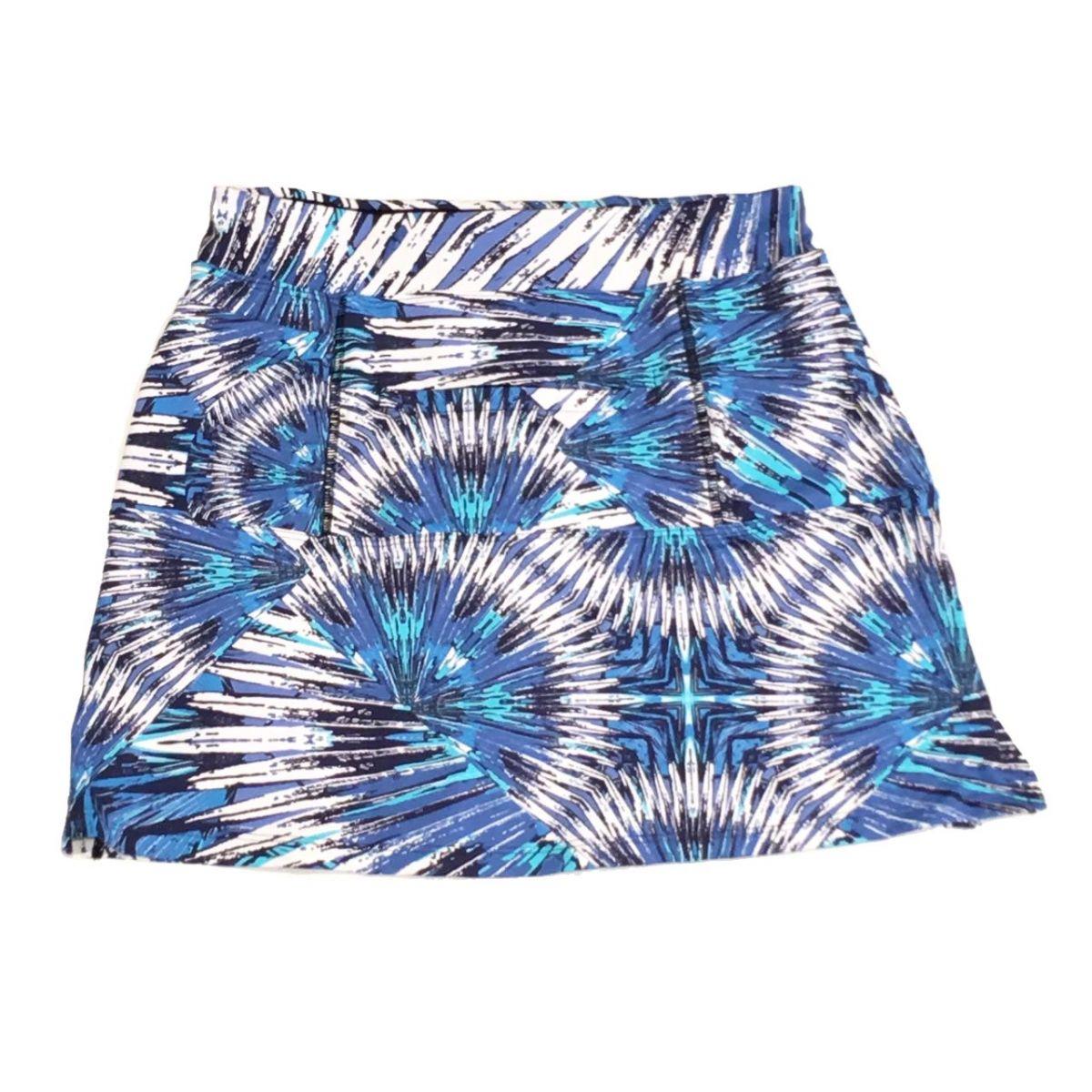 Saia fitness mil bolsos estampa penas azul (5 bolsos)