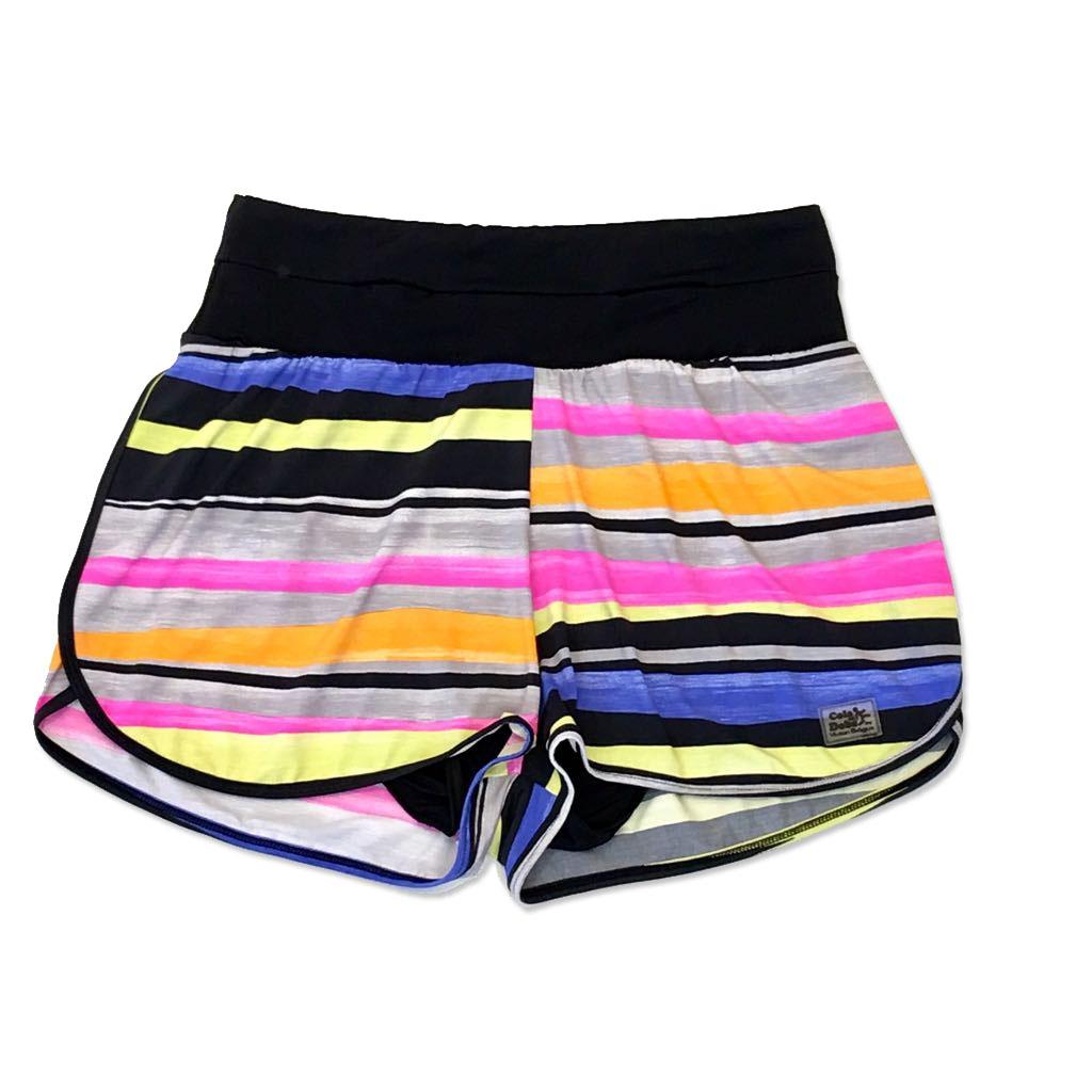 Shorts soltinho mil bolsos estampado listras - ÚLTIMA PEÇA