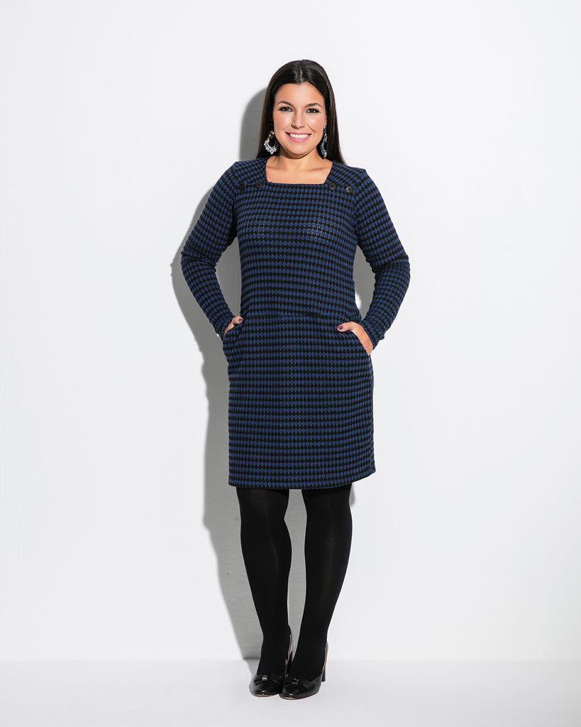 Vestido xadrez azul e preto lãzinha