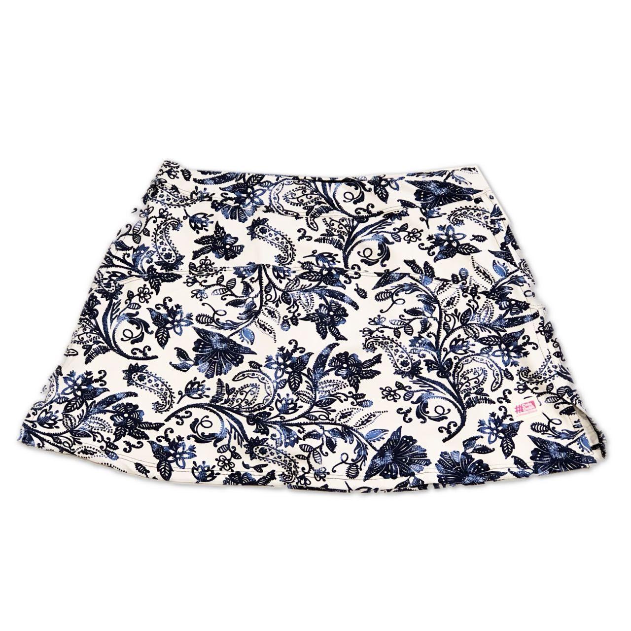 Saia fitness bolso ziper estampa floral azul e branco  (3 bolsos)