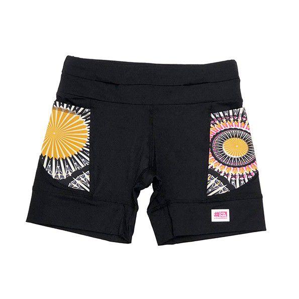Shorts de compressão 1500 bolsos em compress preto com bolsos laterais estampa Mandala