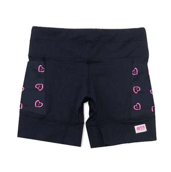 Shorts de compressão 1500 bolsos em sportiva preto com bolsos laterais estampa coração