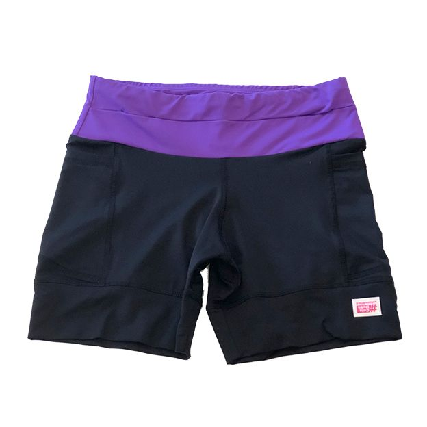 Shorts de compressão 1500 bolsos em sportiva preto cós roxo