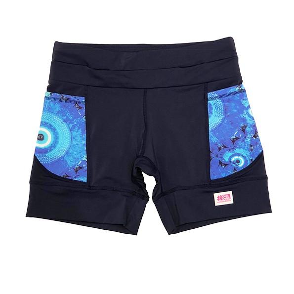 Shorts de compressão mil bolsos em sportiva azul marinho bolsos Olho Grego
