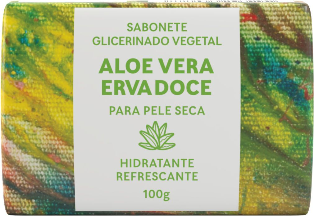 Sabonete Natural Green Life - Aloe Vera Erva Doce 100G  - Wax Green