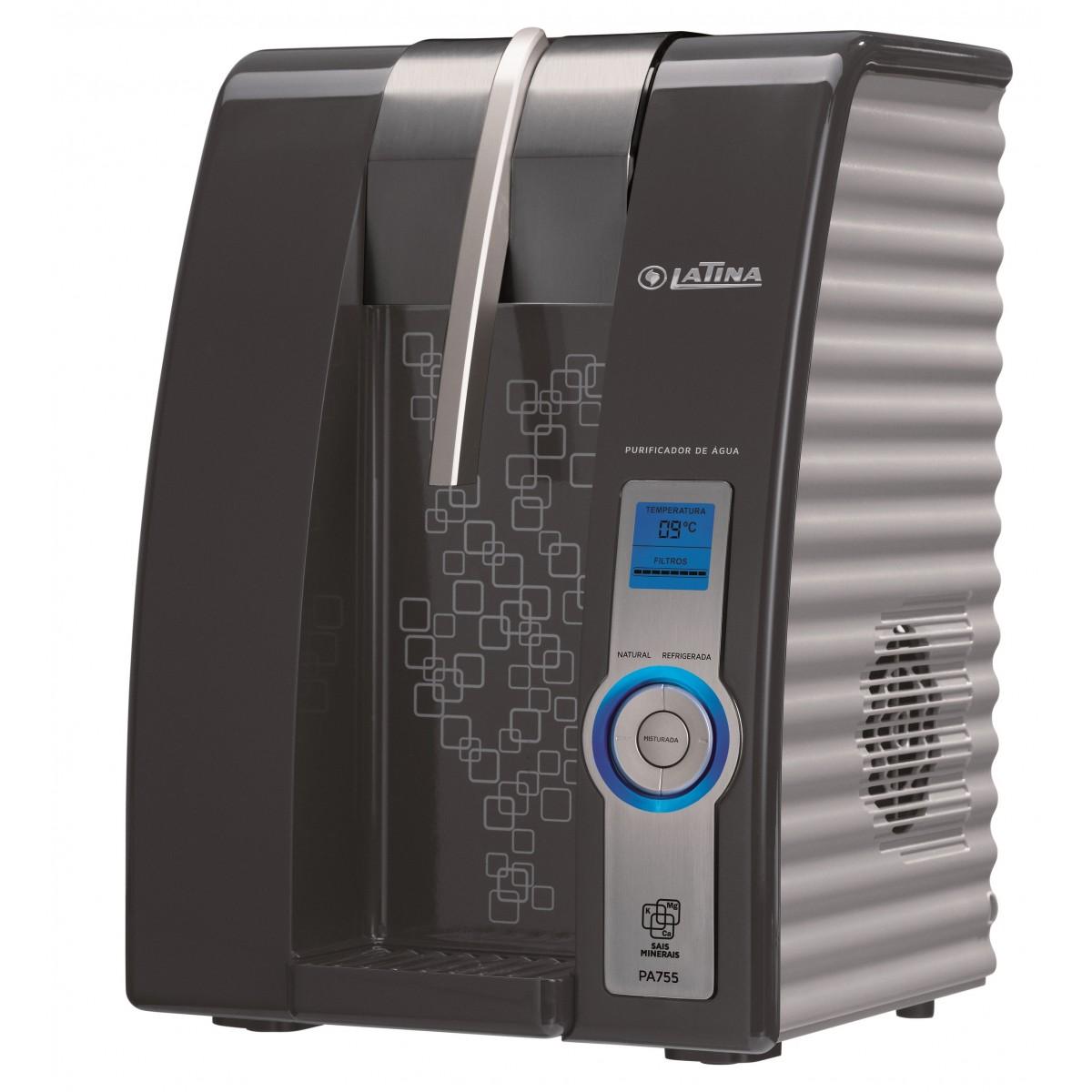 Purificador de Água Eletrônico Refrigerado Latina PA755 com Visor LED Grafite  - ShopNoroeste.com.br