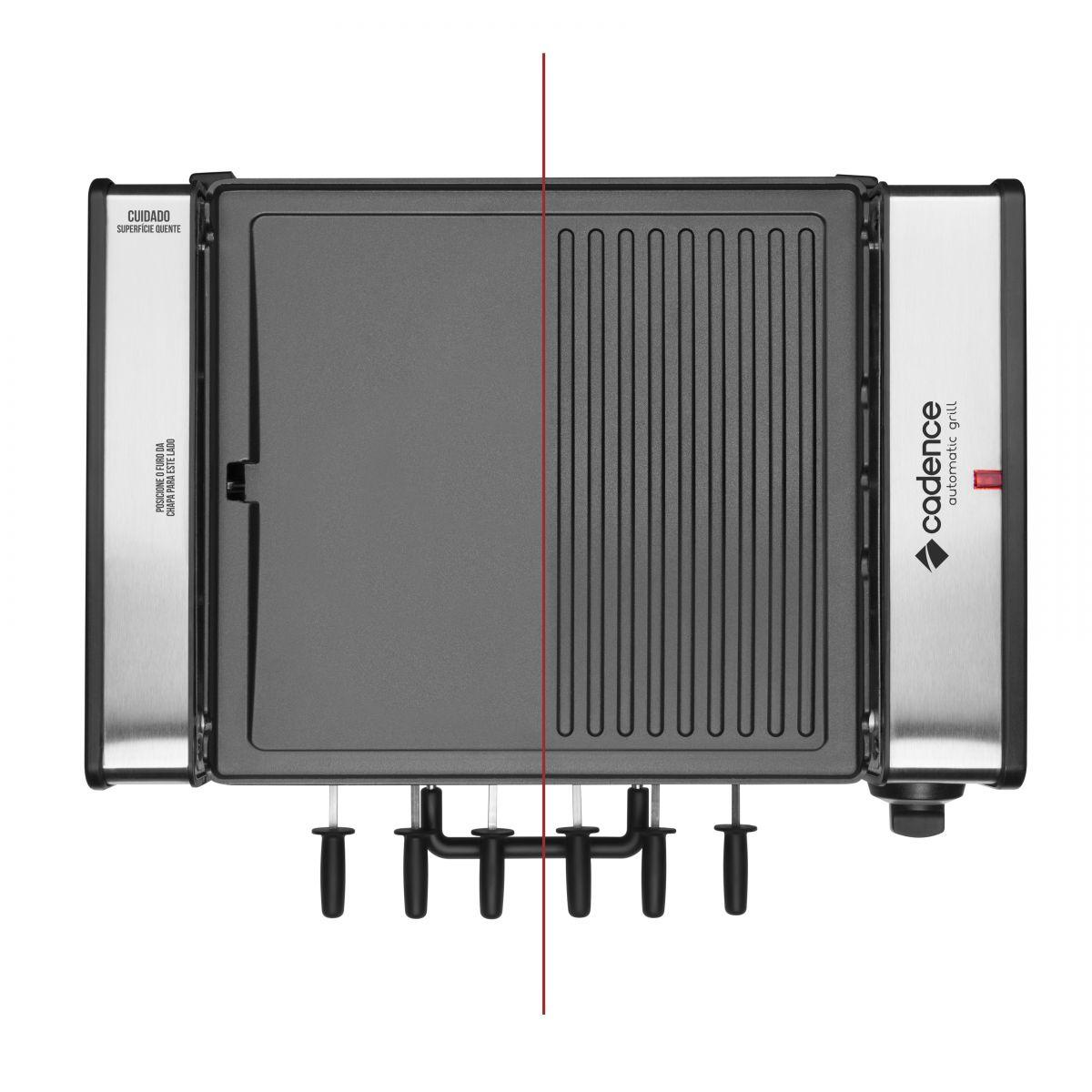 Churrasqueira Elétrica Automática e Grill Cadence GRL700 - 127V  - ShopNoroeste.com.br