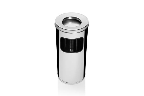 Lixeira com Cigarreira em Aço Inox Polido CI50IP00 - Só Lixeiras  - ShopNoroeste.com.br