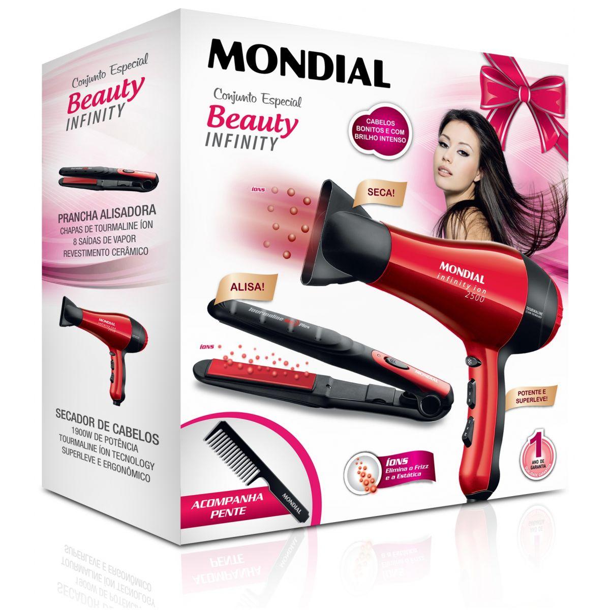 Conjunto Especial Beuty Infinity Mondial KT-44 - Secador + Prancha  - ShopNoroeste.com.br