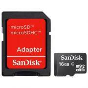 Cartão de Memória SanDisk 16GB MicroSDHC (Classe 4) Card + Adapter (SDSDQM-016G-B35A T)