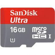 Cartão de Memória SanDisk 16GB Ultra MicroSDHC (Classe 10) Card + adapter for Android