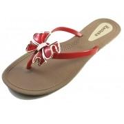 Sandália Rasteira Rasteka Super Confortável - Laço Vermelho e Dourado, Solado Bege e Tiras Vermelhas