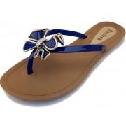 Sandália Rasteira Rasteka Super Confortável - Laço Azul Bic e Dourado, Solado Bege e Tiras Azul Bic