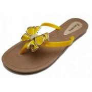 Sandália Rasteira Rasteka Super Confortável - Laço Amarelo e Dourado, Solado Bege e Tiras Amarela