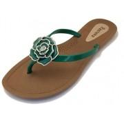 Sandália Rasteira Rasteka Super Confortável - Flor Verde e Prata, Solado Bege e Tiras Verdes