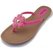 Sandália Rasteira Rasteka Super Confortável - Trevo Rosa e Dourado, Solado Bege e Tiras Rosa