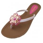 Sandália Rasteira Rasteka Super Confortável - Trevo Prata e Rosa, Solado Bege e Tiras Brancas