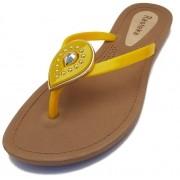 Sandália Rasteira Rasteka Super Confortável - Gota Amarela com Dourado, Solado Bege e Tiras Amarelas