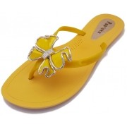 Sandália Rasteira Rasteka Super Confortável Amarela Laço Amarelo e Prata