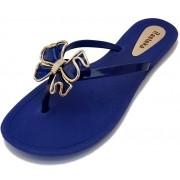 Sandália Rasteira Rasteka Super Confortável Azul Laço Azul e Prata
