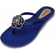 Sandália Rasteira Rasteka Super Confortável Azul Flor Azul e Prata
