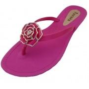 Sandália Rasteira Rasteka Super Confortável Rosa Flor Rosa e Prata