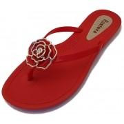 Sandália Rasteira Rasteka Super Confortável Vermelha Flor Vermelha e Prata