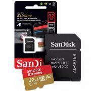 Cartão Micro SD SanDisk 32GB Extreme até 100MB/s a Prova Água p/ Câmera de ação 4K e Full HD