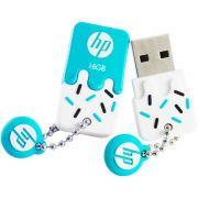 Pen Drive HP 16GB Sorvetinho USB 2.0 mini Azul V178B Prova d' Agua