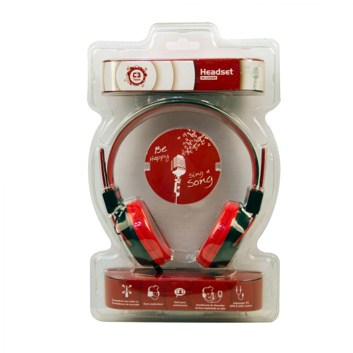 Fone de Ouvido Headset Multimídia Preto/Vermelho C3 Tech - MI-2358RR  - ShopNoroeste.com.br