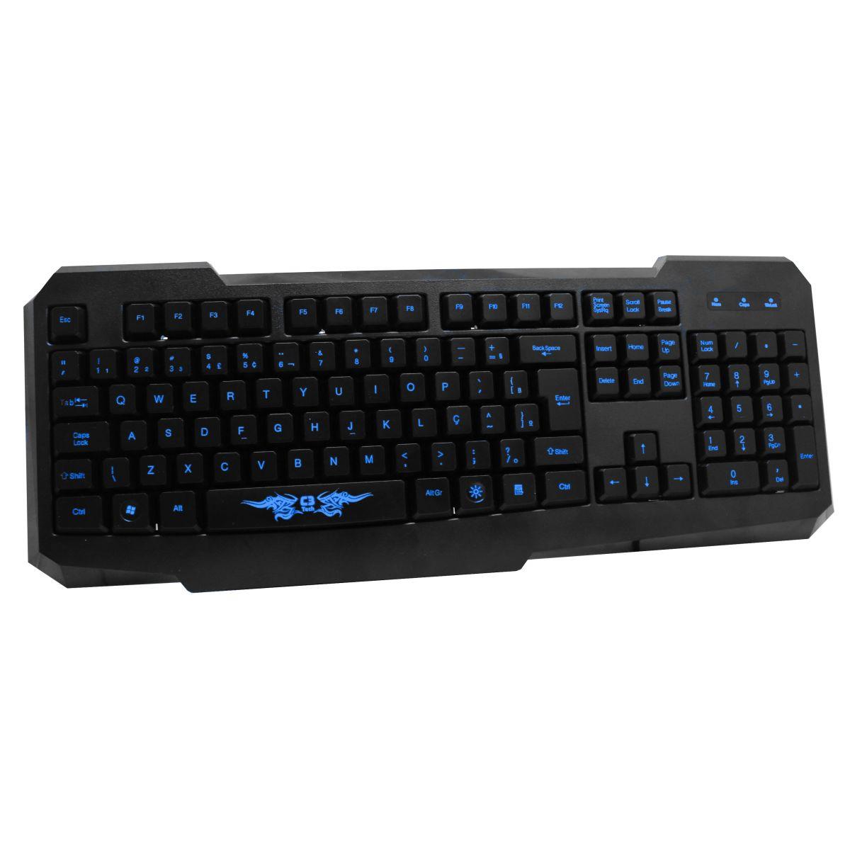Teclado Gamer Iluminado KG-02L - C3 Tech Azul/Preto  - ShopNoroeste.com.br