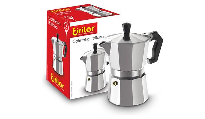 Cafeteira Italiana Alumínio 3 Xícaras - Eirilar  - ShopNoroeste.com.br