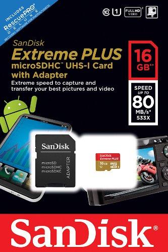 Cartão de Memória Sandisk 16gb Extreme Plus MicroSDHC UHS-I Full HD 80mb/s - SDSDQX-016G-U46A  - ShopNoroeste.com.br