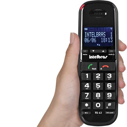Telefone Sem Fio DECT 6.0 com Identificador de Chamadas e Viva Voz TS 63V Preto Intelbras  - ShopNoroeste.com.br