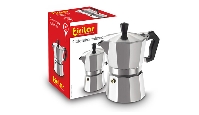 Cafeteira Italiana Alumínio 6 Xícaras - Eirilar  - ShopNoroeste.com.br