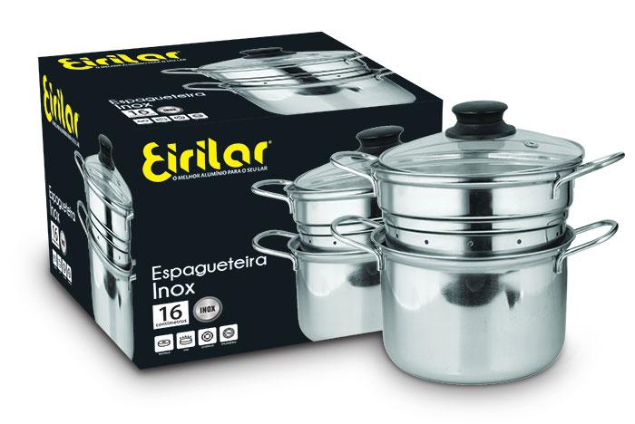 Espagueteira Inox com Tampa de Vidro 2 Litros 16cm - Eirilar  - ShopNoroeste.com.br