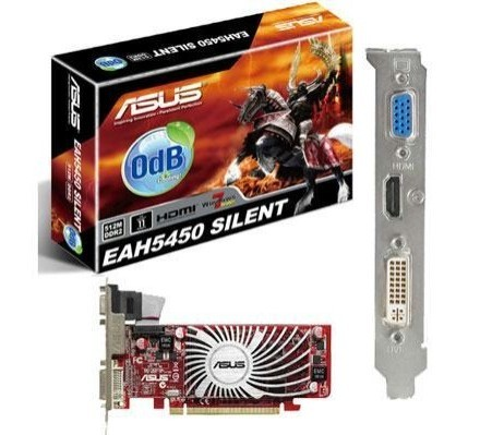 Placa de vídeo VGA ASUS Radeon HD 5450 1024MB (1GB) DDR3 PCI-Express EAH5450 SILENT/DS/1GD3/BR (LP)  - ShopNoroeste.com.br