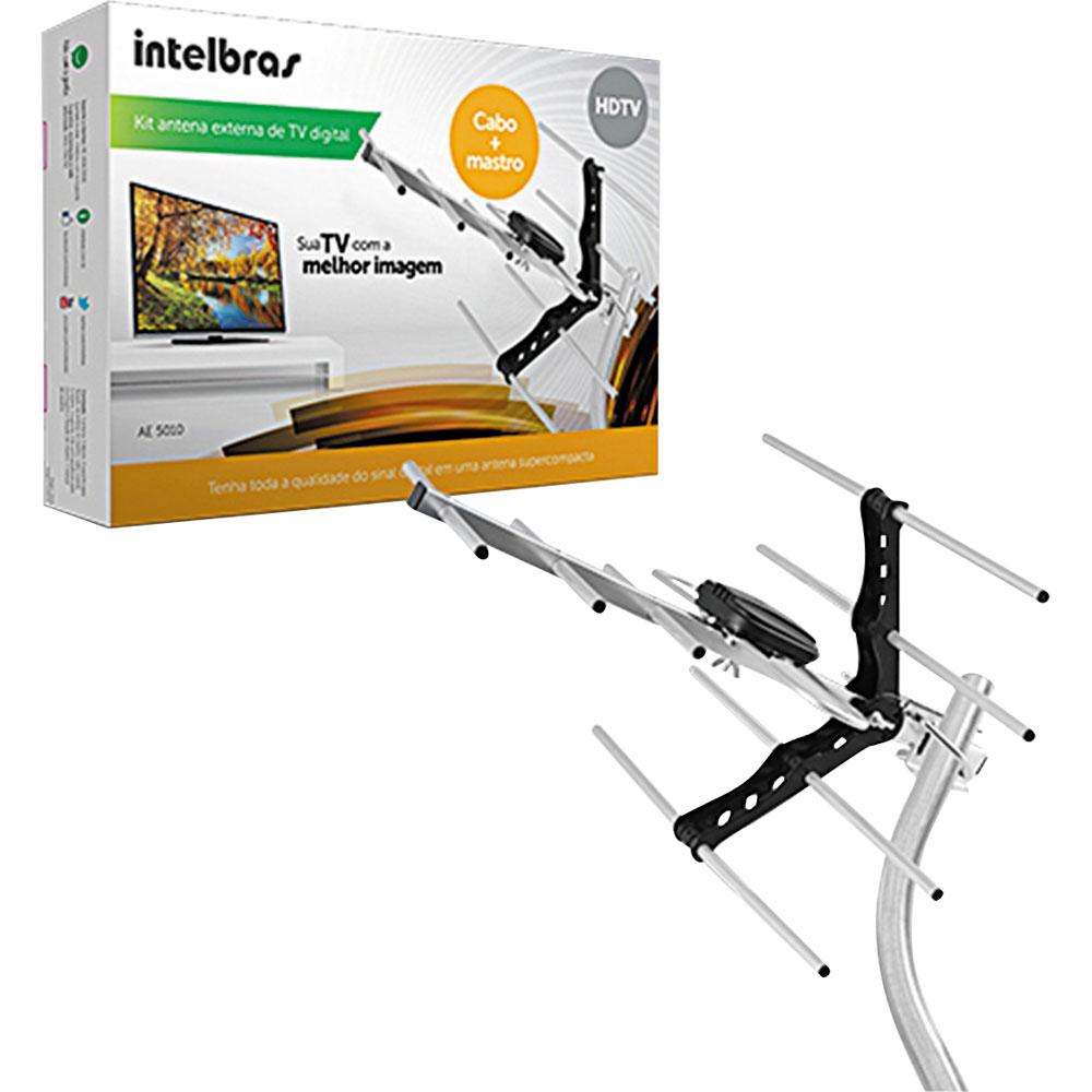 Kit Antena de TV Externa Digital AE 5010 UHF/HDTV  com 15m de Cabo - Intelbras  - ShopNoroeste.com.br